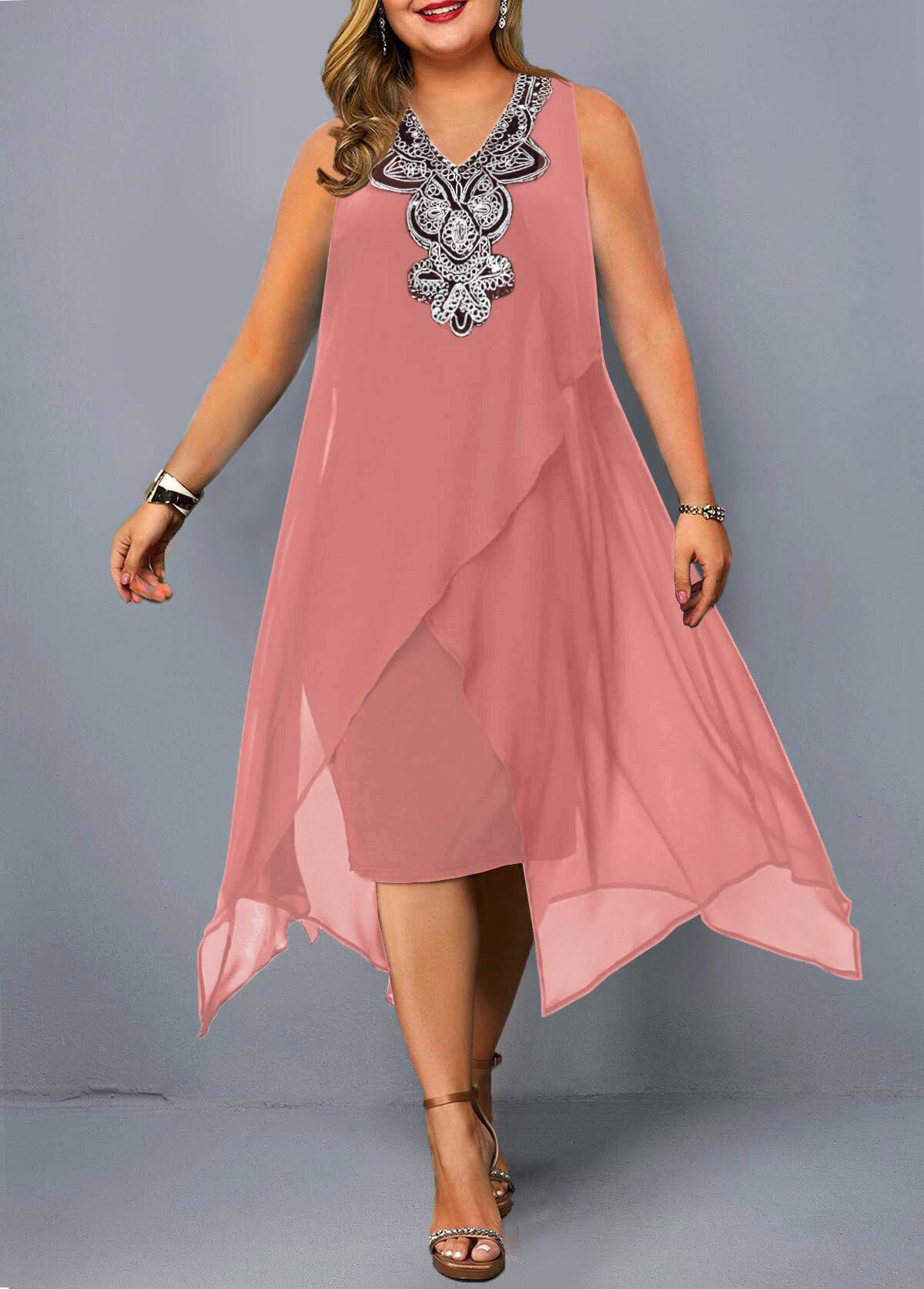 ROTITA Sleeveless Embellished Neck Asymmetric Hem Plus Size Dress