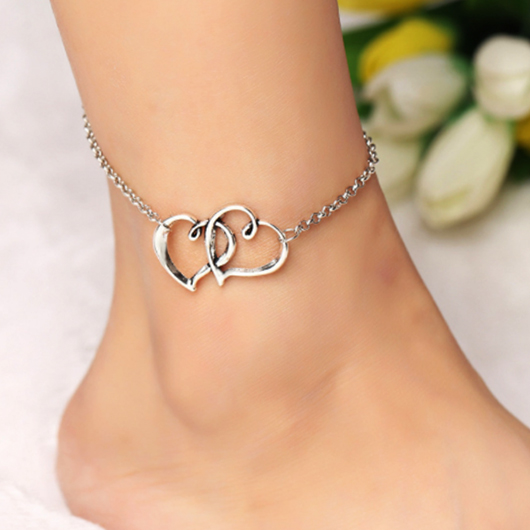 Metal Detail Silver Double Heart Design Anklet