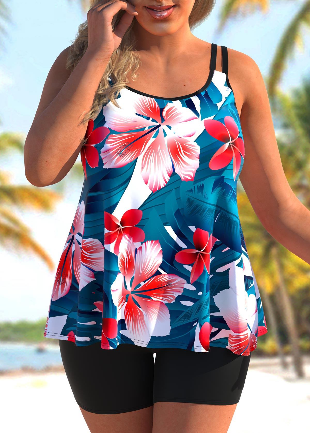 ROTITA Floral Print Plus Size Tankini Set