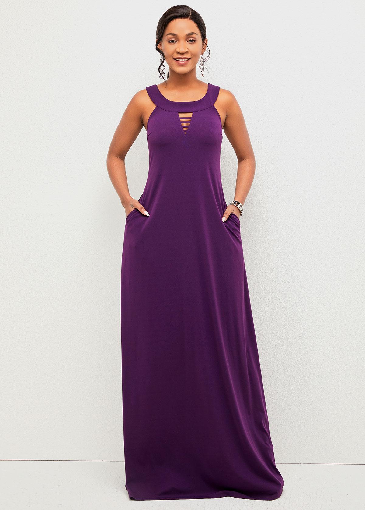 ROTITA Wide Strap Ladder Cutout Pocket Detail Dress