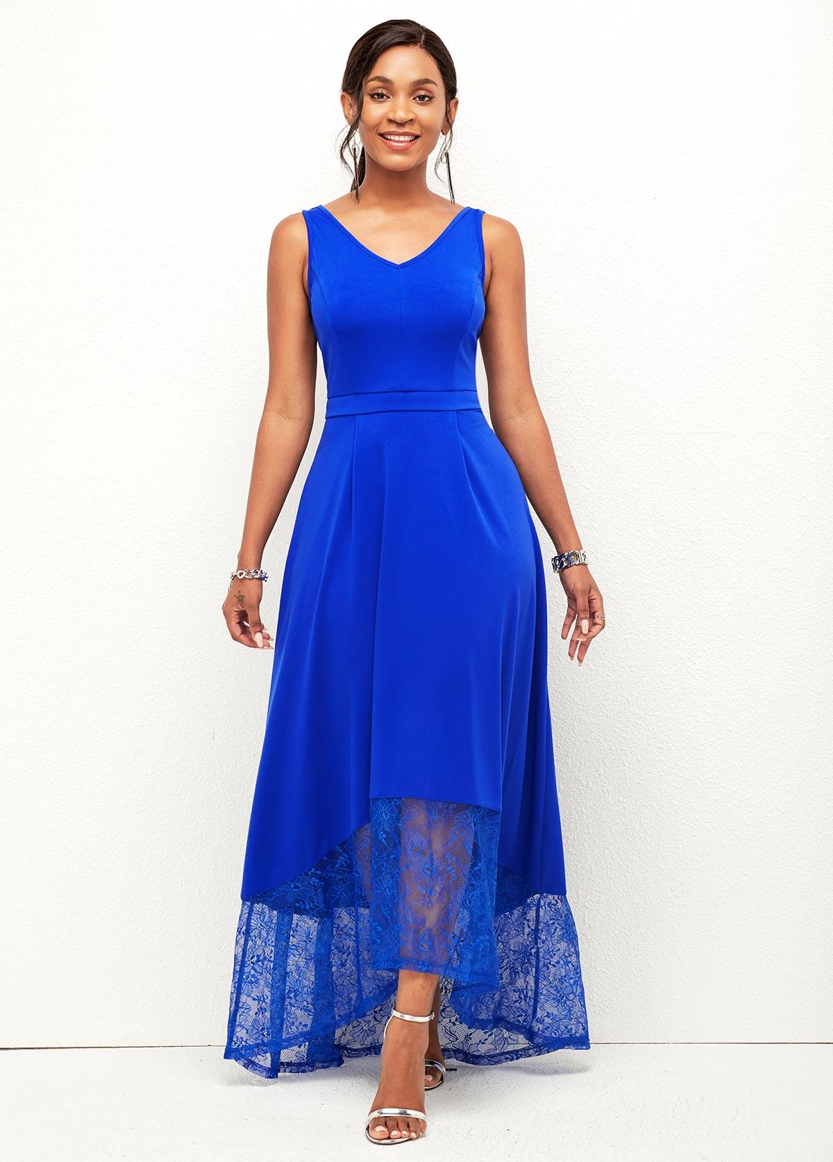 ROTITA Wide Strap Lace Stitching Asymmetric Hem Dress