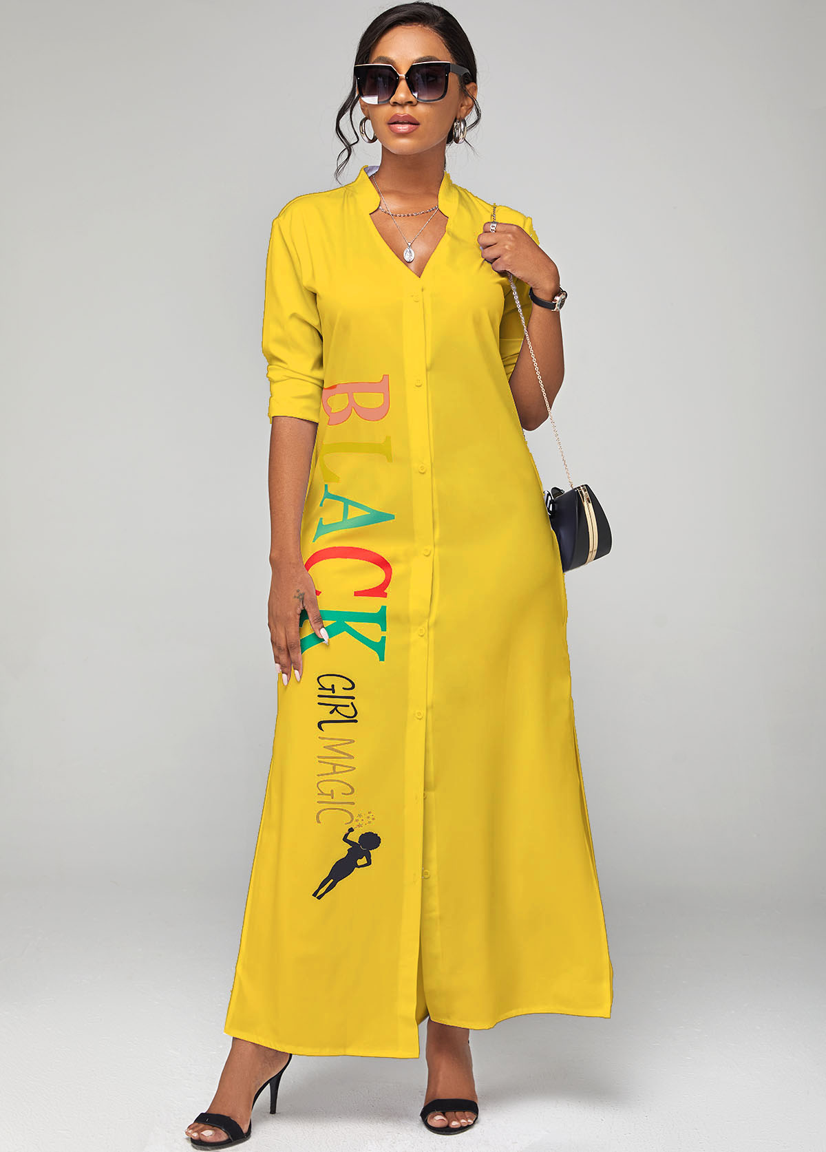 ROTITA Letter Print Long Sleeve Side Slit Dress