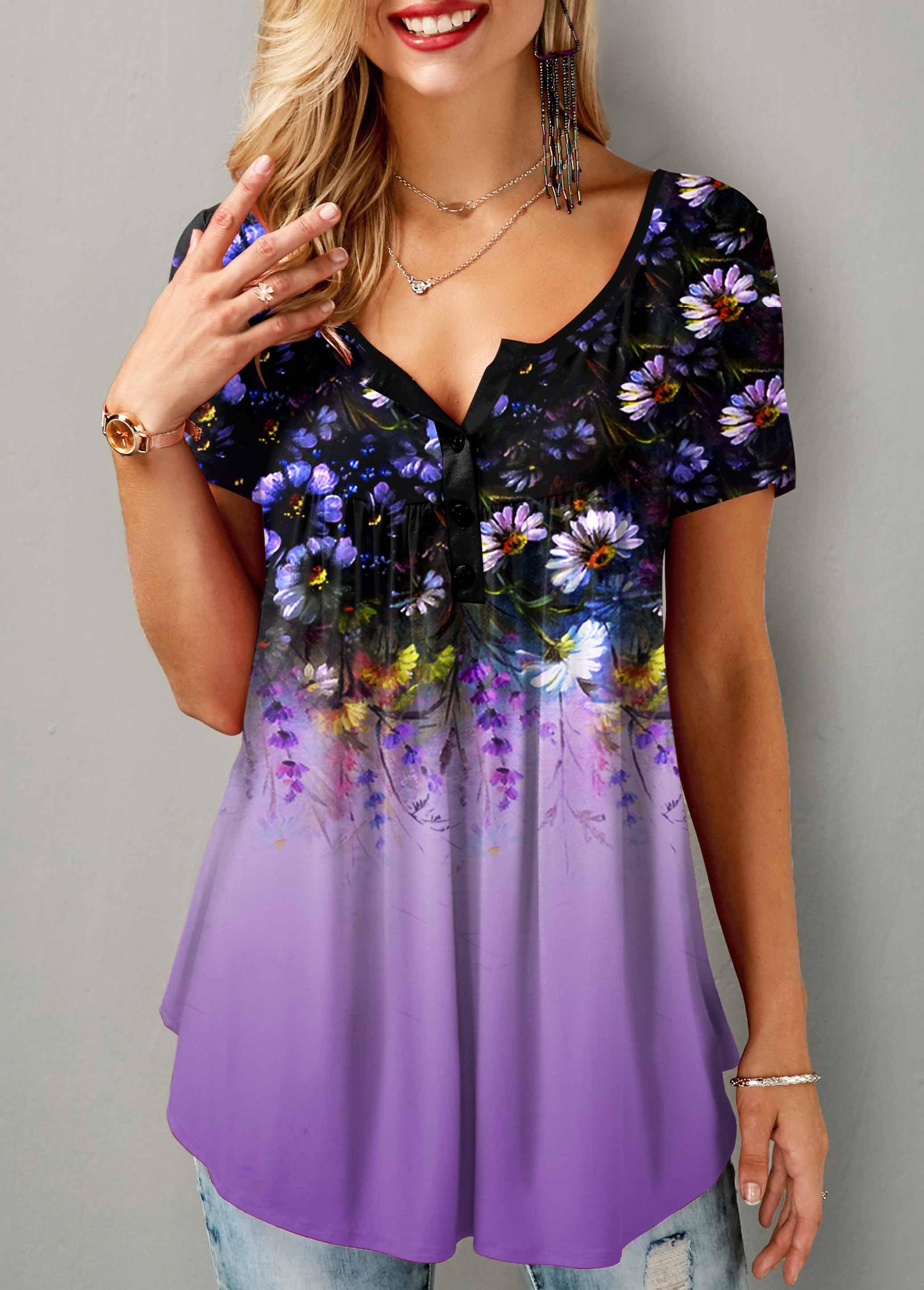 ROTITA Floral Print Button Detail Short Sleeve T Shirt