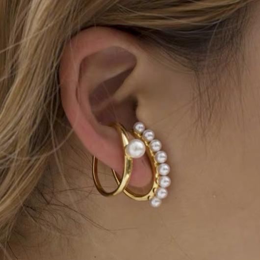 Metal Ring Detail Pearl Destail Earring Set