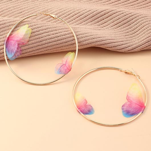 Metal Ring Detail Butterfly Design Earring Set