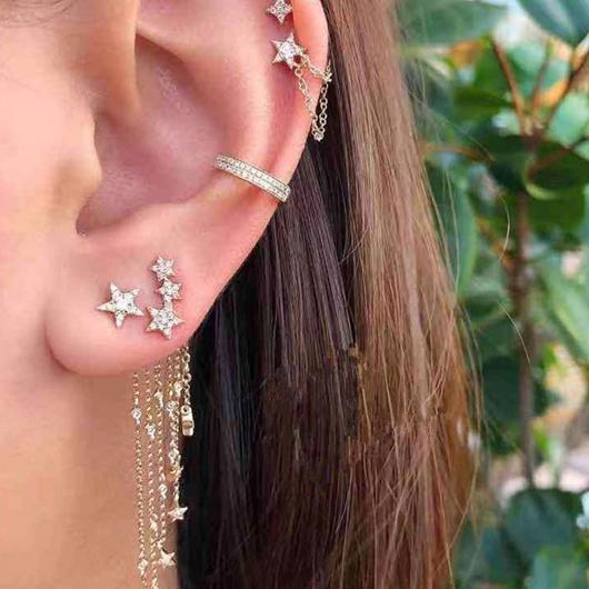 Chain Tassel Star Design Metal Detail Earring Set