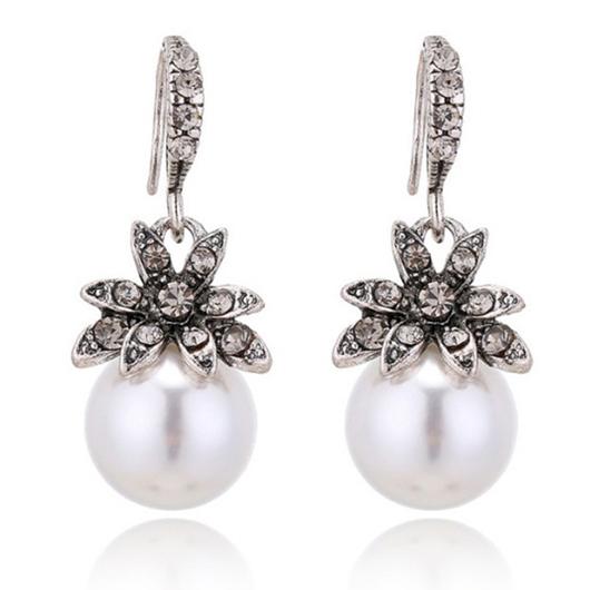 Silver Pearl Detail Sunflower Design Earring Set