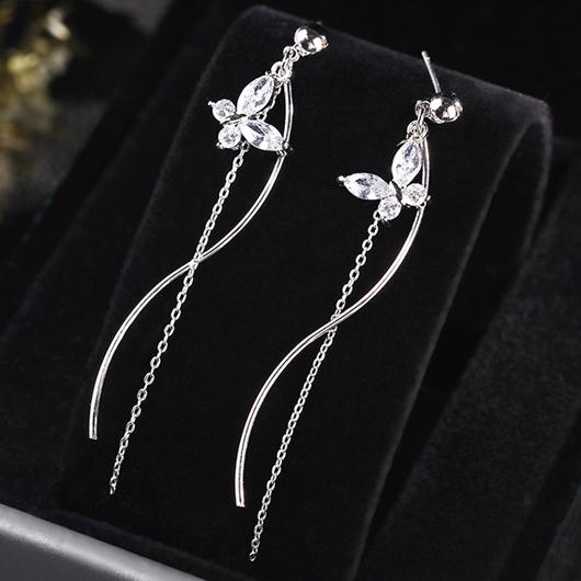 Rhinestone Detail Butterfly Design Silver Earring Set