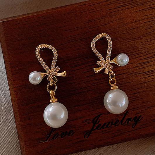 Gold Bowknot Design Pearl Detail Earring Set