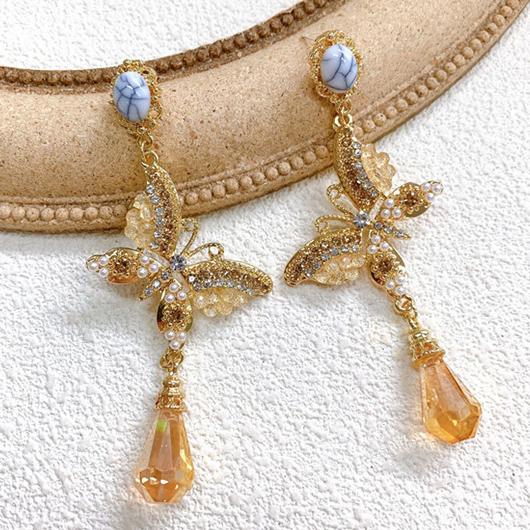 Rhinestone Detail Butterfly Design Earring Set