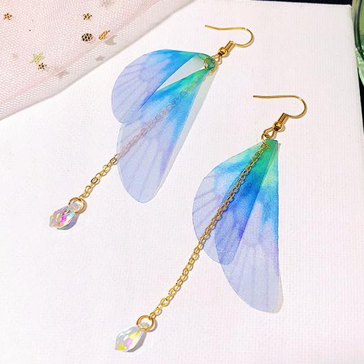 Crystal Butterfly Wings Design Metal Detail Earring Set