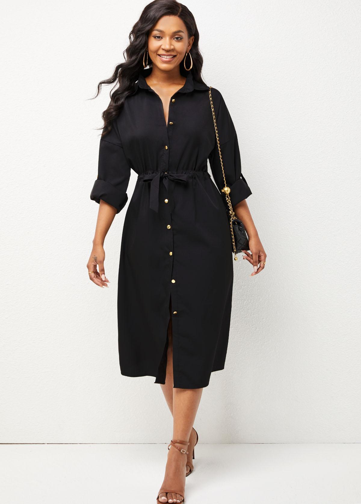Button Up Turndown Collar Drawstring Waist Dress