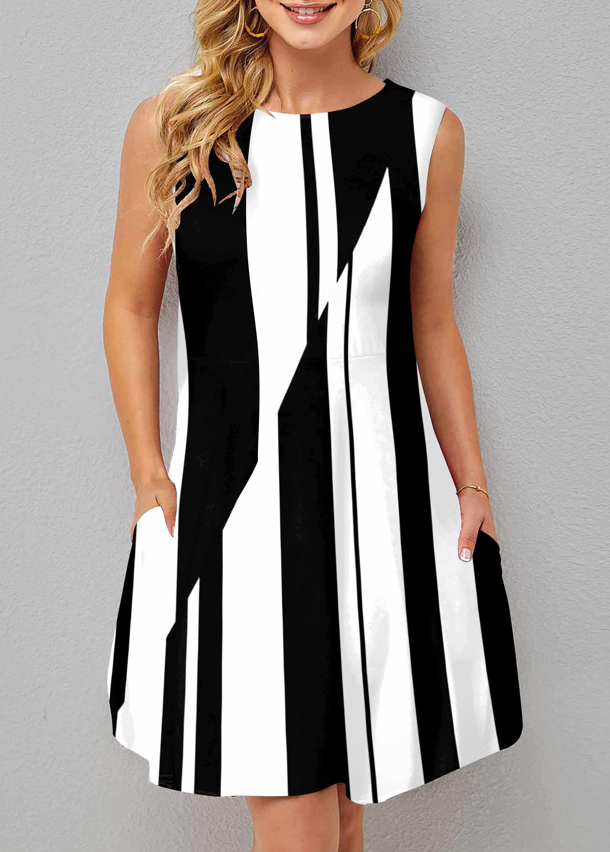 ROTITA A Line Sleeveless Striped Print Round Neck Dress