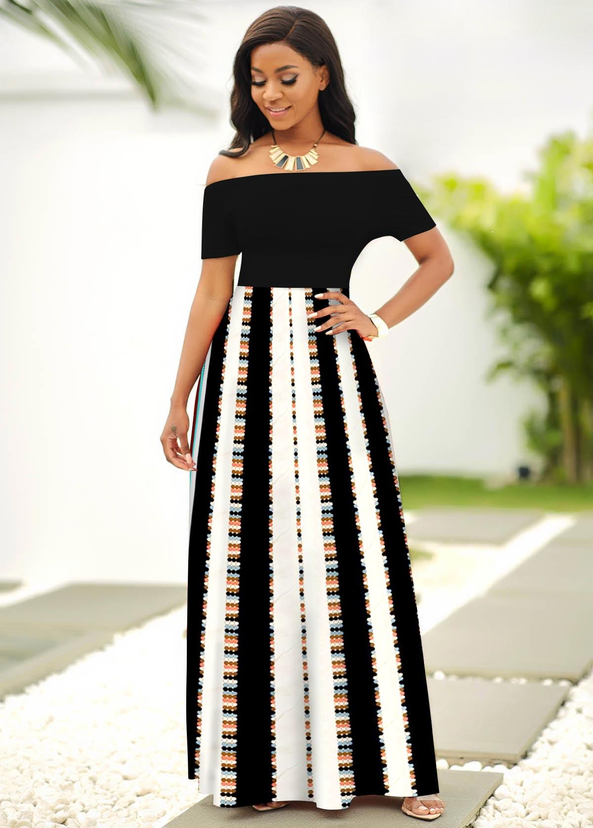 ROTITA Off Shoulder Contrast Striped Short Sleeve Dress
