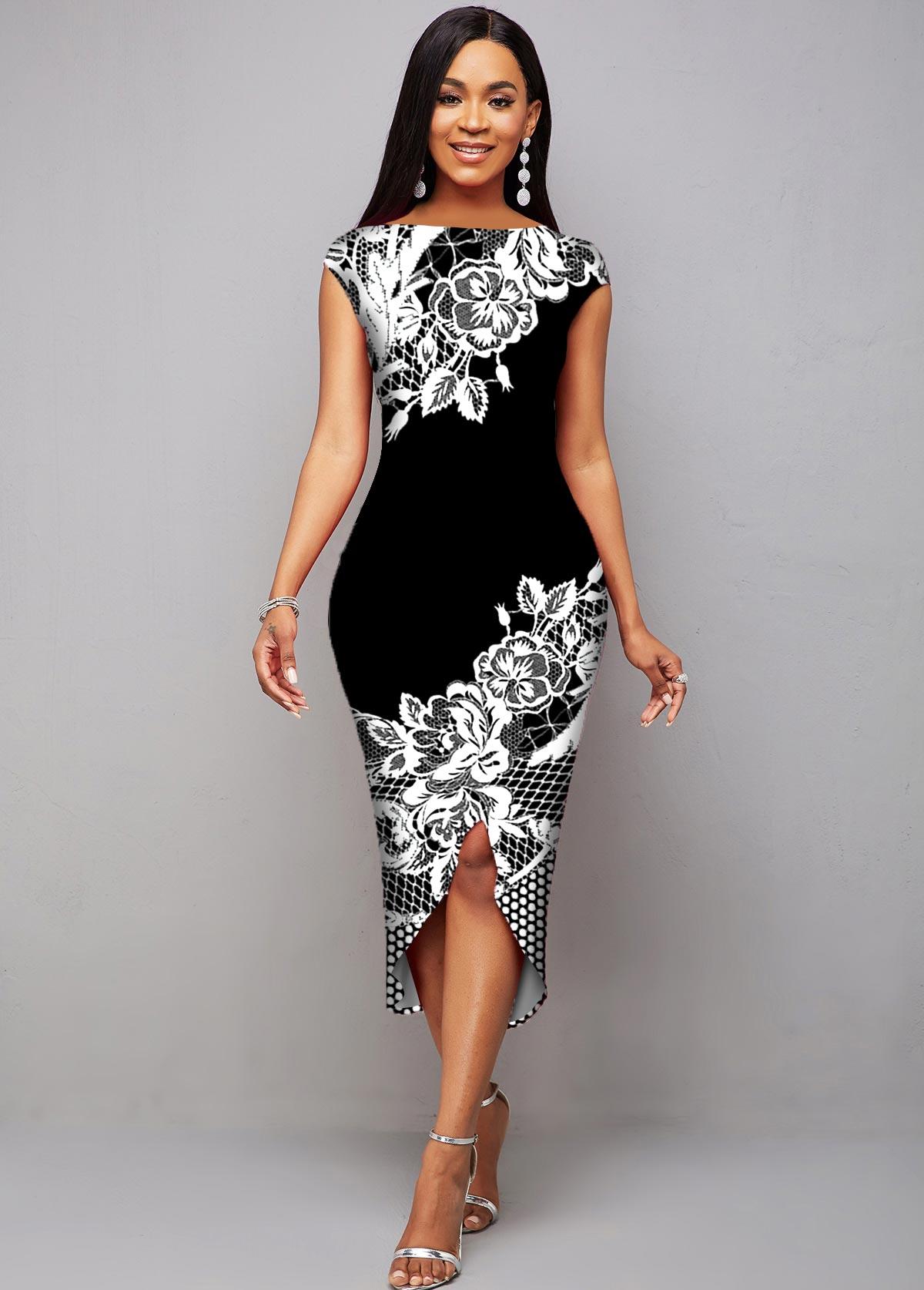 ROTITA Cap Sleeve Floral Print Asymmetric Hem Dress