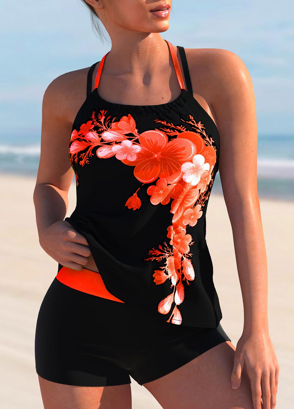 ROTITA Criss Cross Back Floral Print Tie Back Tankini Set