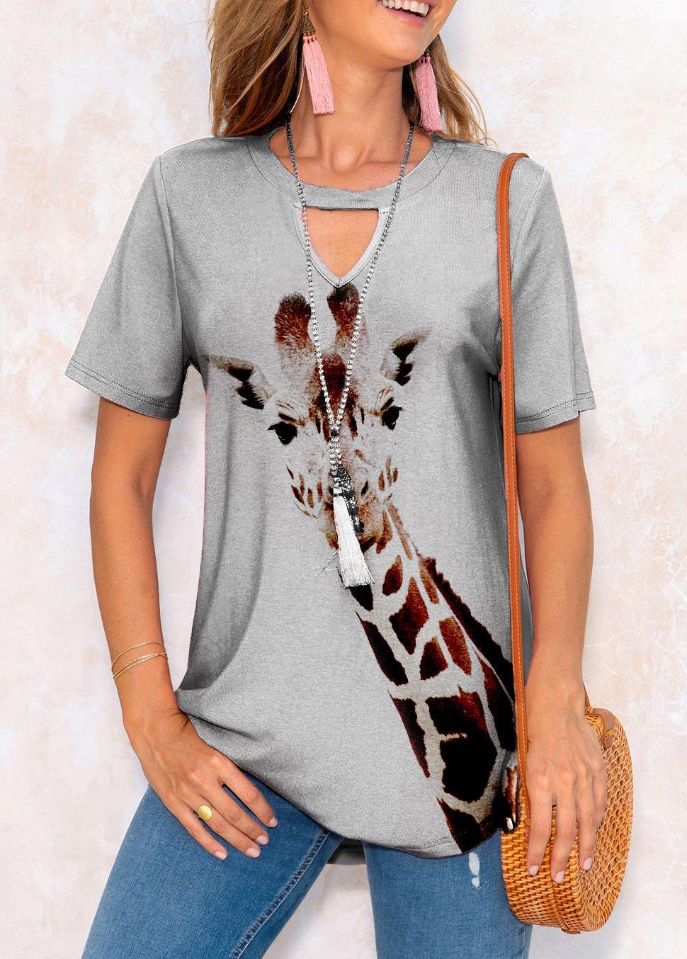 ROTITA Animal Prints Short Sleeve Keyhole Neckline T Shirt