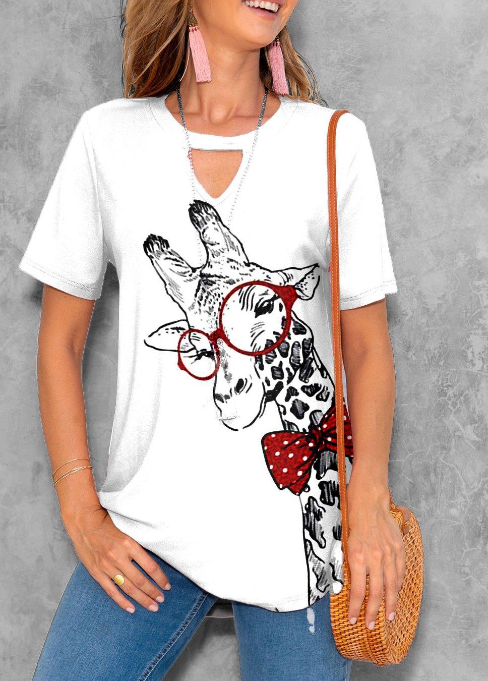 ROTITA Animal Prints Keyhole Neckline Short Sleeve T Shirt