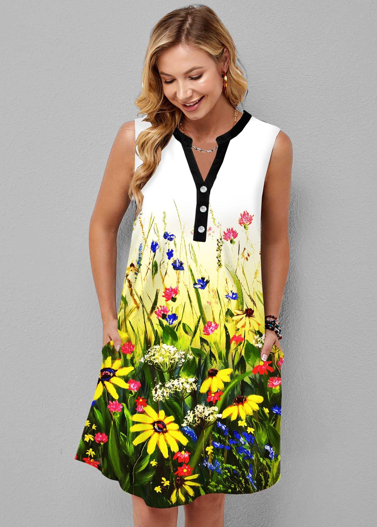 ROTITA Button Detail Split Neck Daisy Print Dress