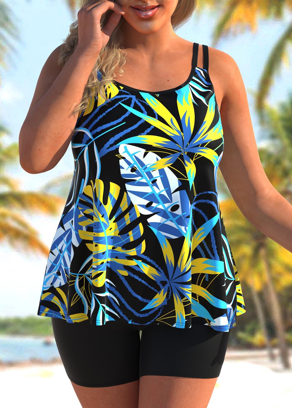 ROTITA Plus Size Wide Strap Tropical Print Tankini Set