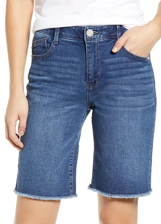 ROTITA Denim Blue High Waisted Button Up Shorts