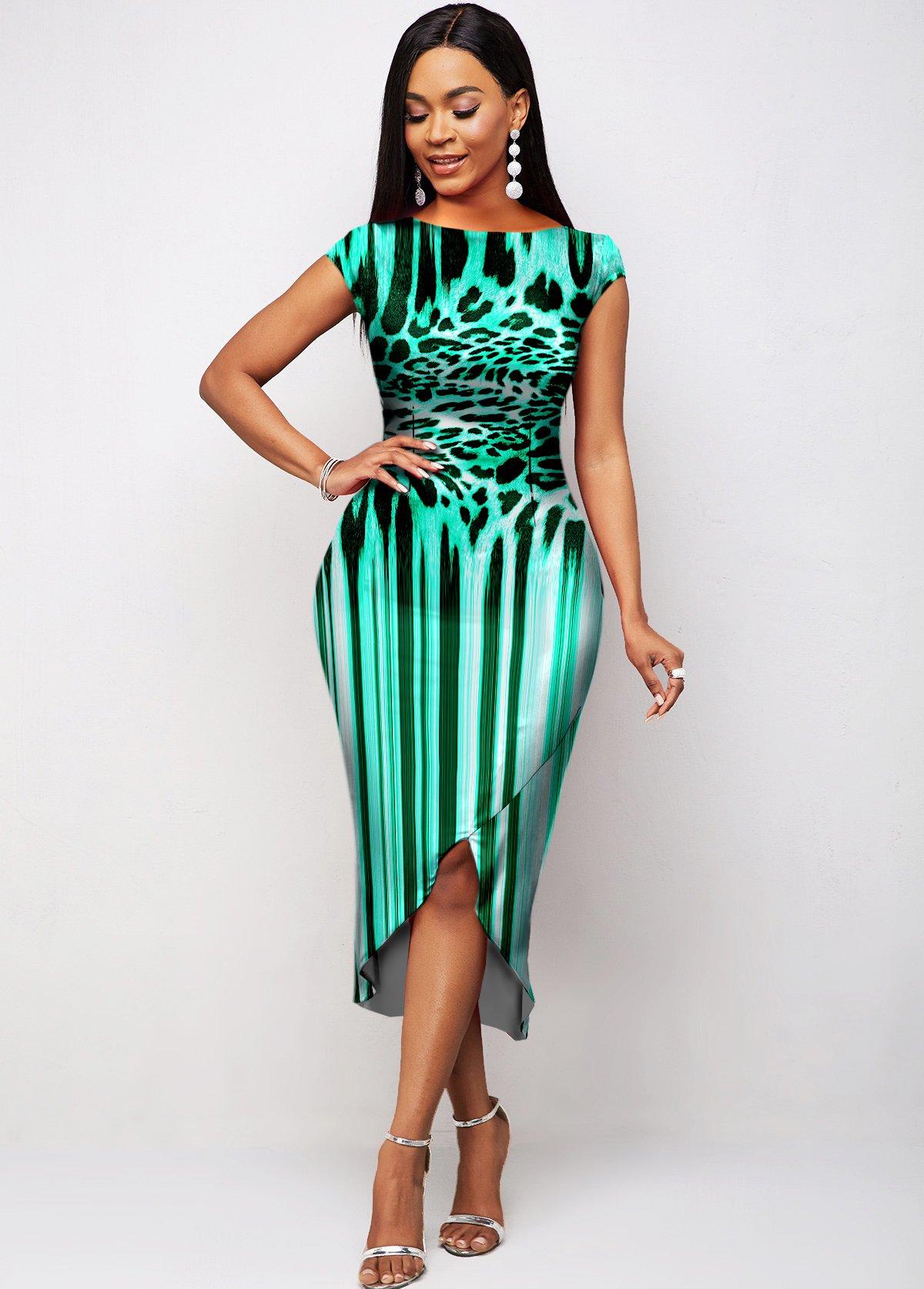 ROTITA Short Sleeve Leopard Asymmetric Hem Dress