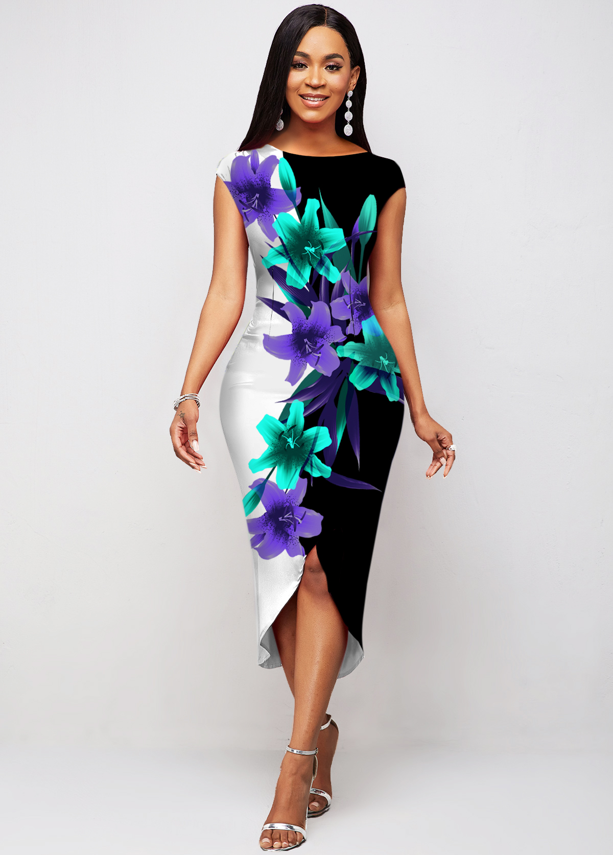 ROTITA Floral Print Short Sleeve Asymmetric Hem Dress