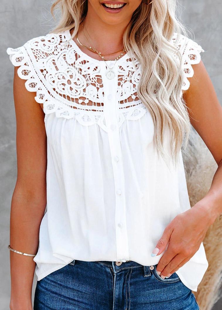 ROTITA White Lace Stitching Short Sleeve Blouse
