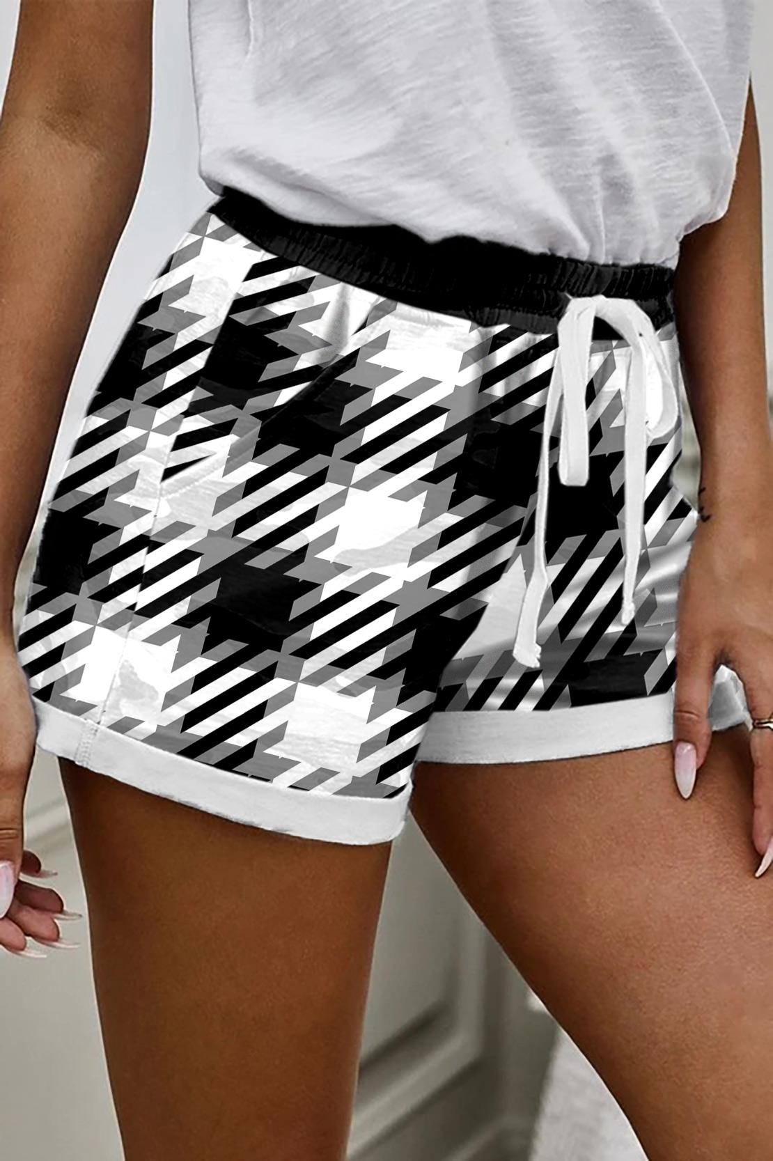 ROTITA Drawstring High Waisted Plaid Print Shorts