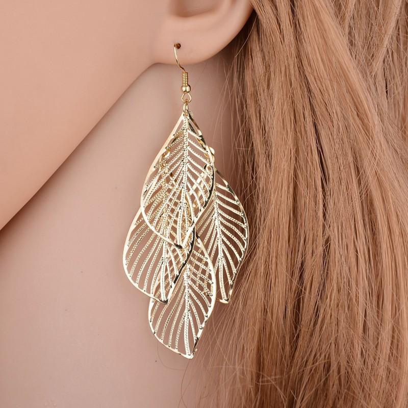Gold Leaf Design Metal Detail Earring Set
