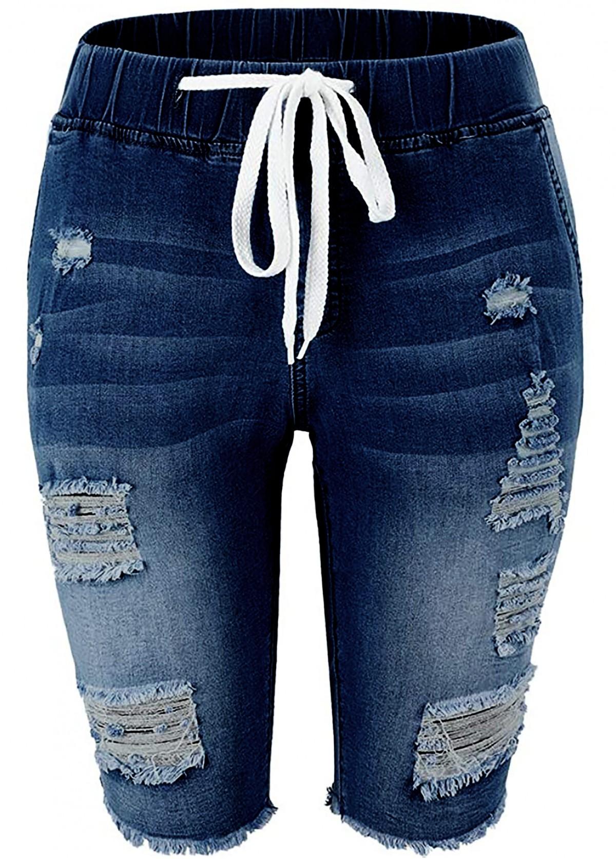 ROTITA Drawstring Waist Shredded Denim Blue Shorts