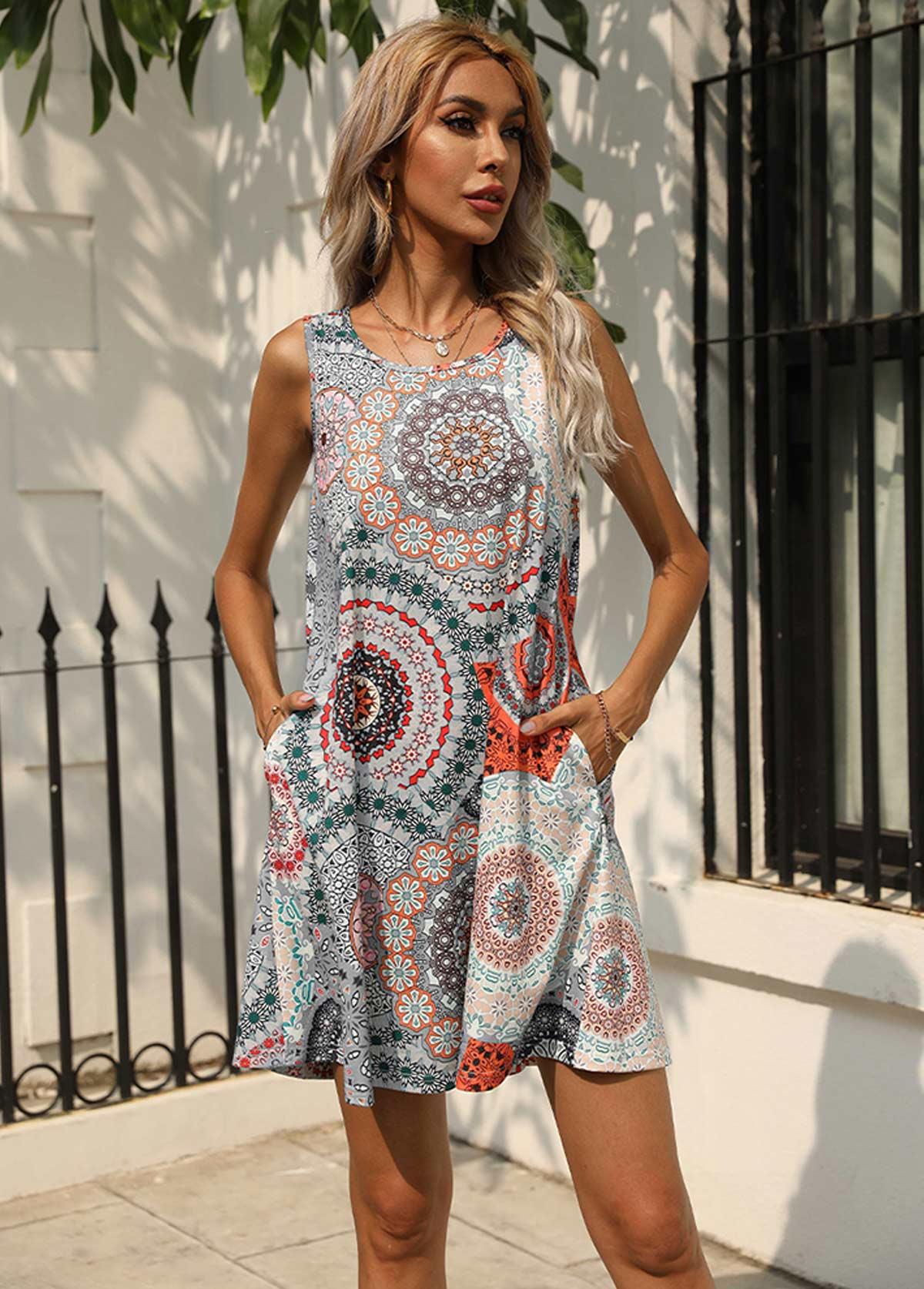 Round Neck Printed Double Pocket Dress