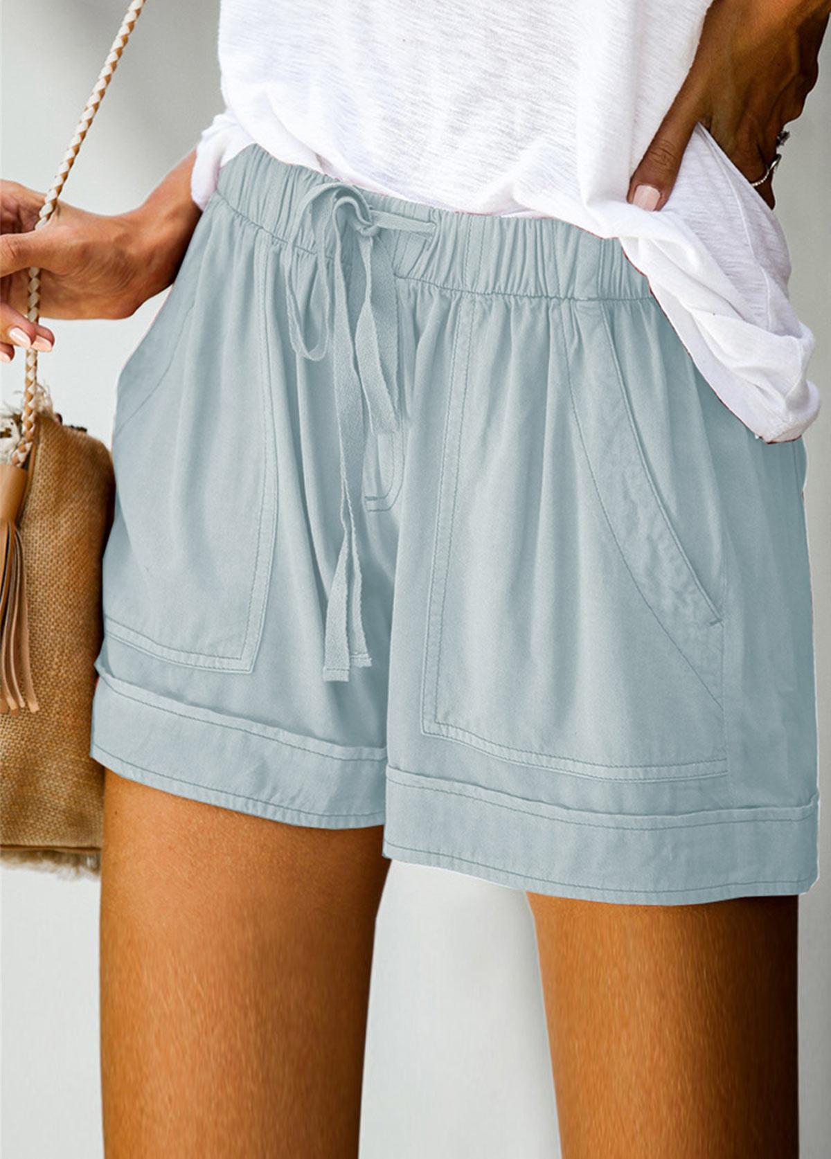 Double Pocket Solid Drawstring Waist Shorts