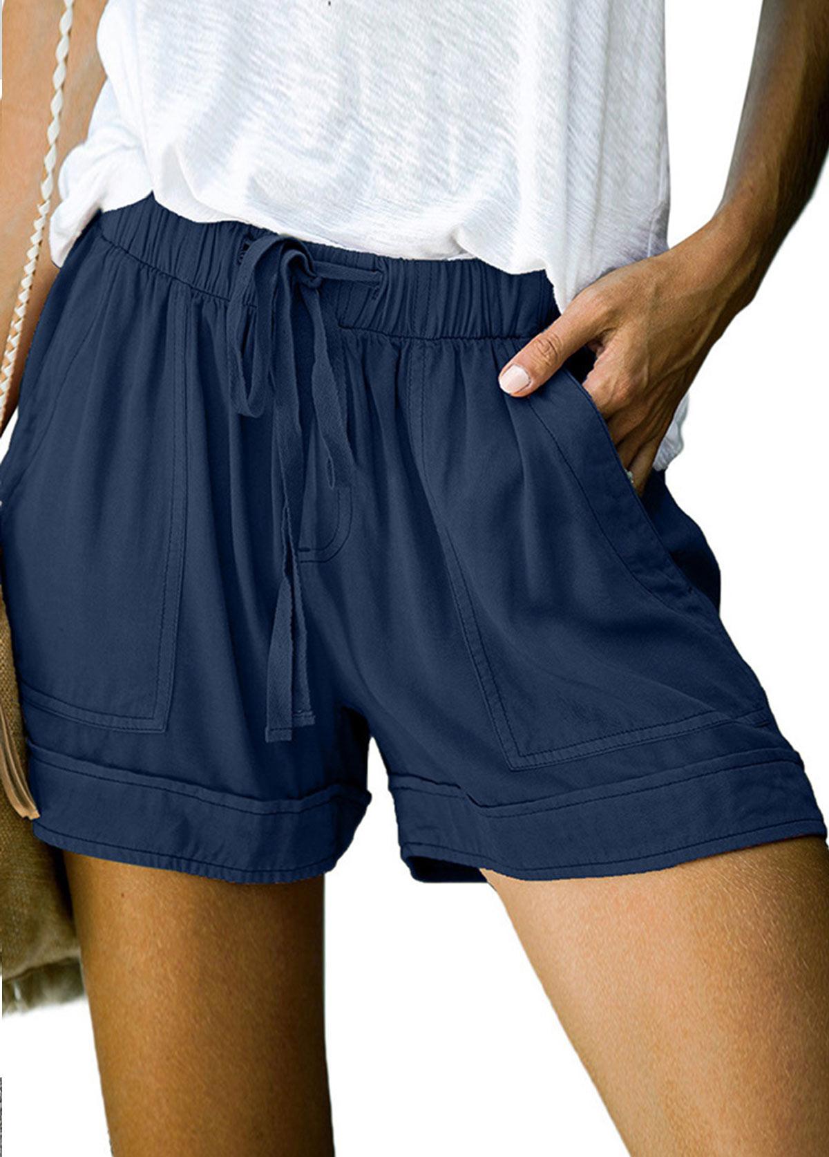 Drawstring Waist Double Pocket Solid Shorts