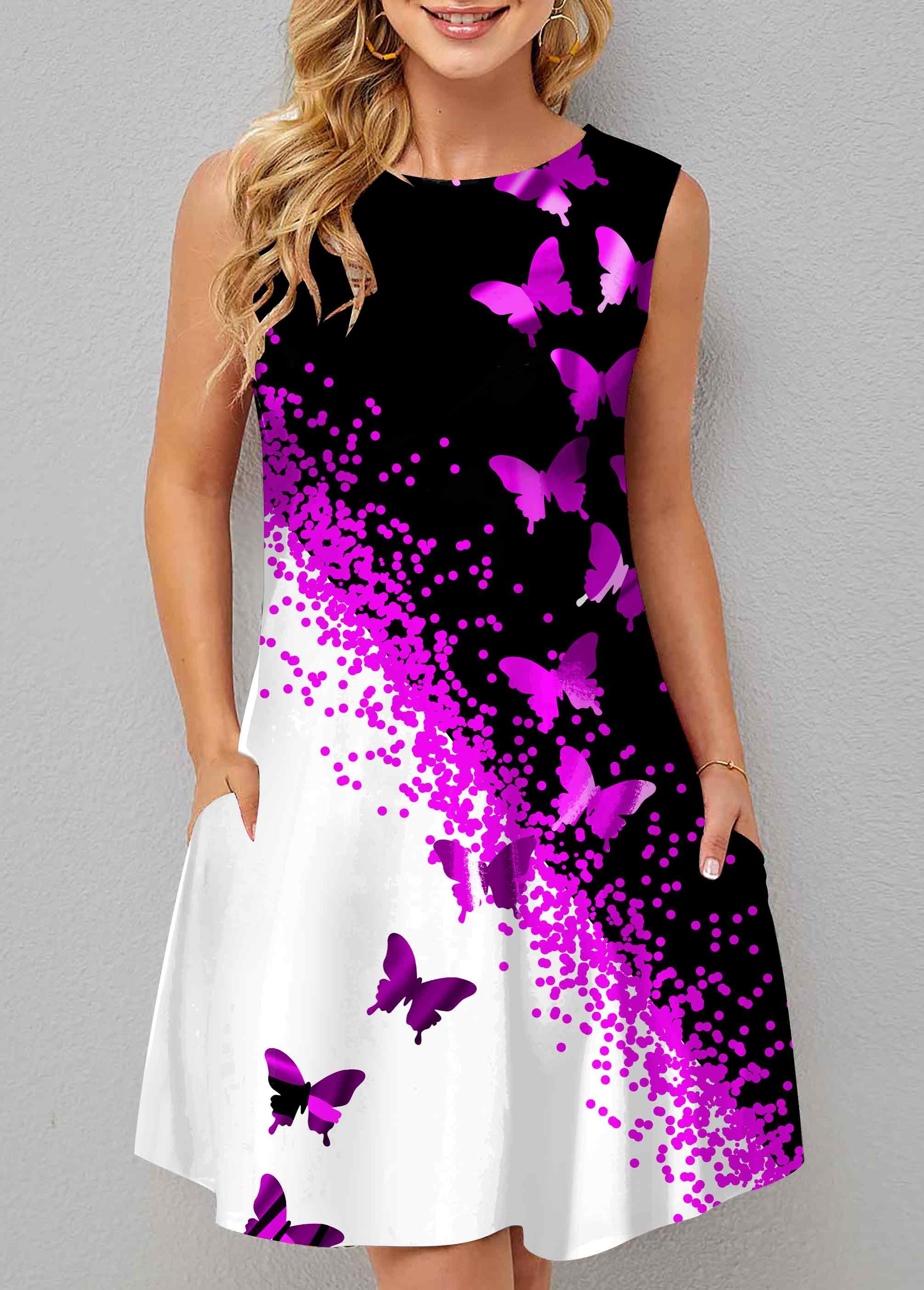 ROTITA Contrast Butterfly Print Double Pocket Dress