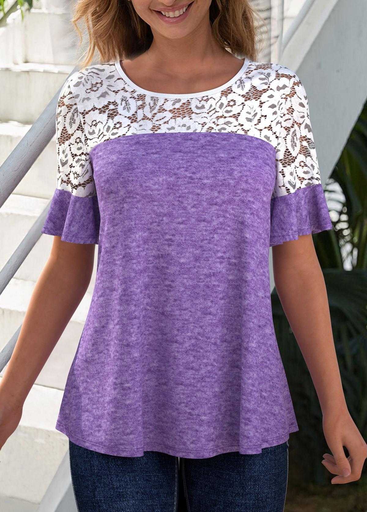 ROTITA Lace Patchwork Round Neck Short Sleeve T Shirt