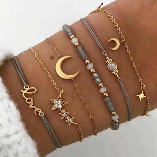Letter and Star Design Layered Gold Bracelets