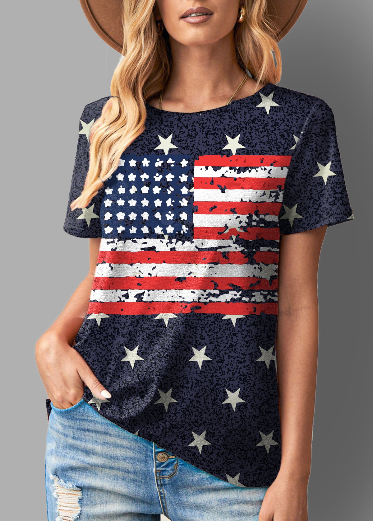 ROTITA American Flag Round Neck Short Sleeve T Shirt