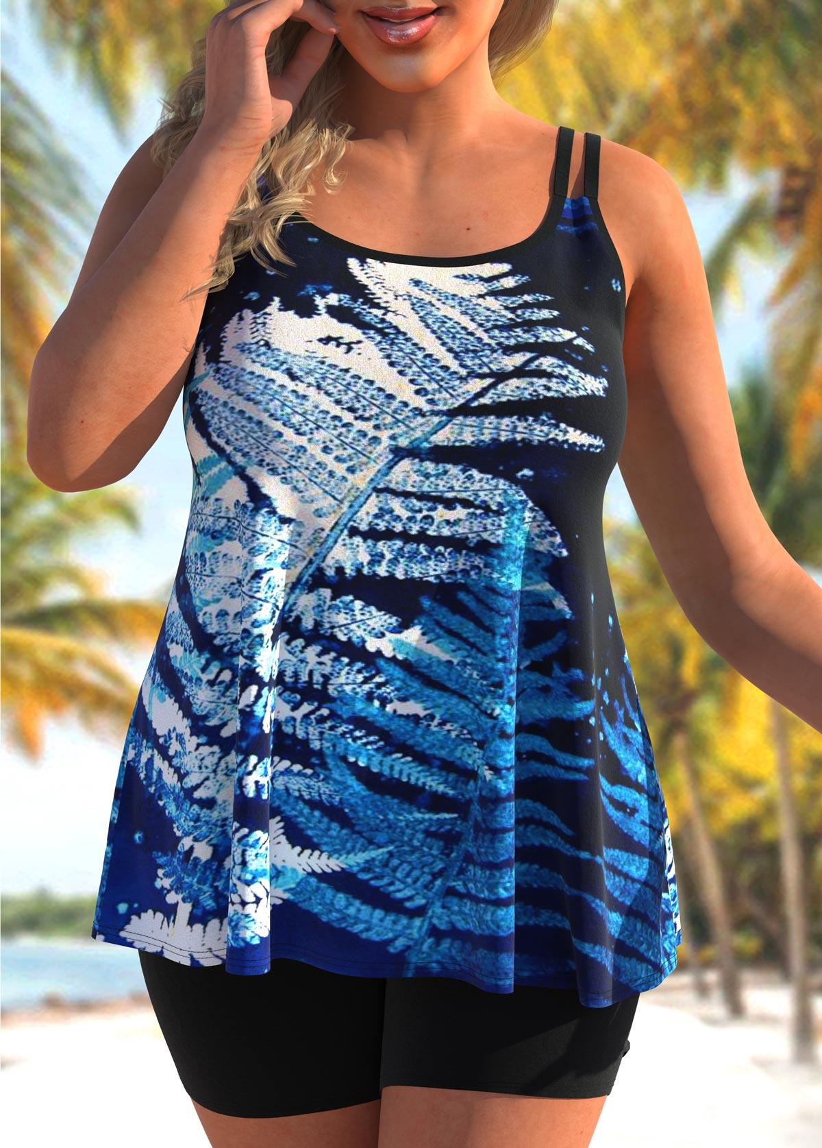 ROTITA Double Straps Plus Size Leaf Print Tankini Set