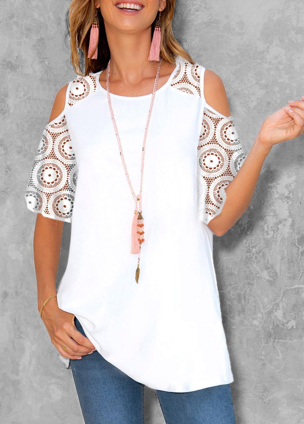 ROTITA Lace Patchwork Cold Shoulder Round Neck T Shirt