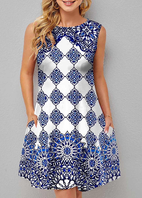 ROTITA Double Side Pockets Sleeveless Tribal Print Dress