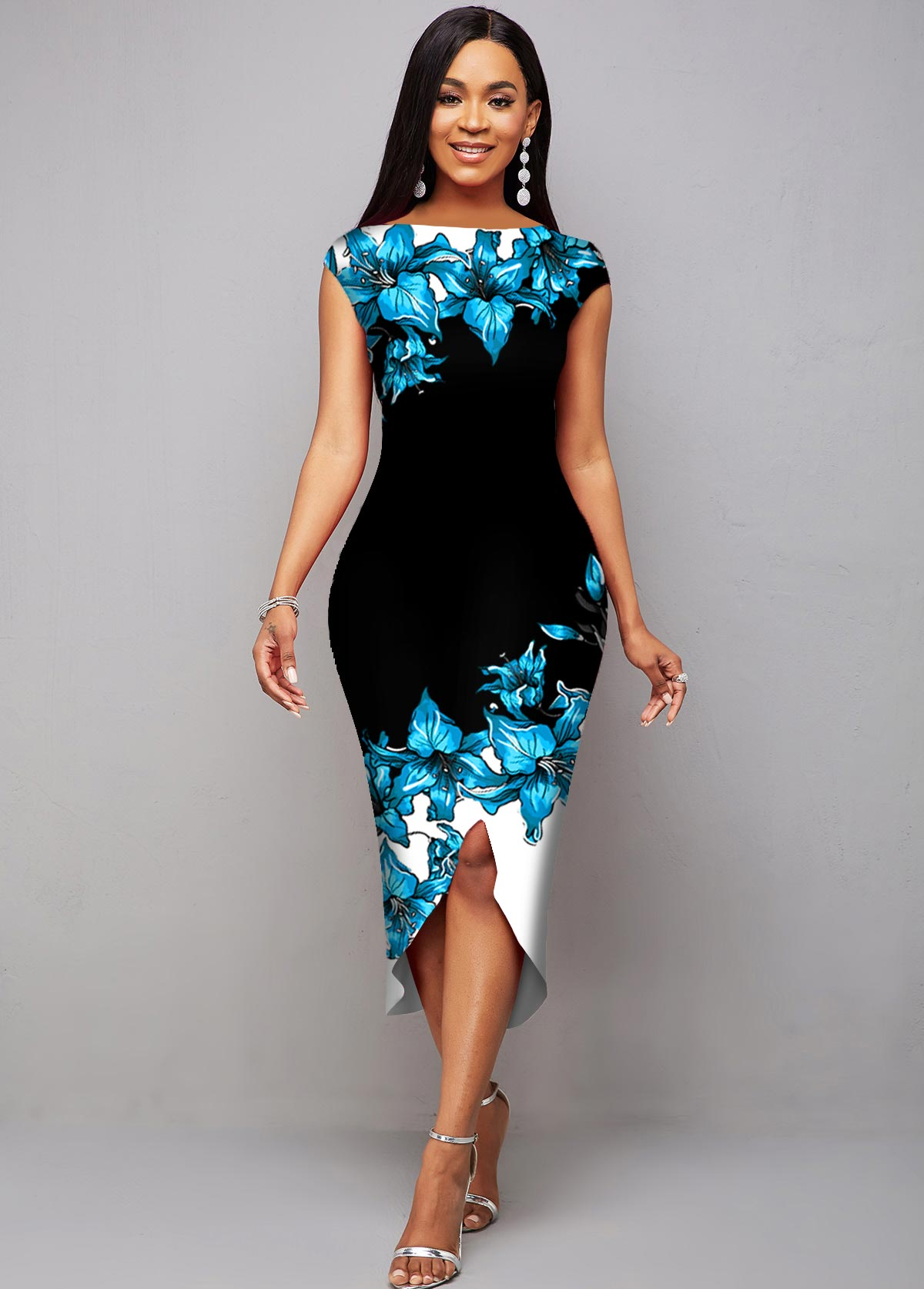 ROTITA Contrast Floral Print Asymmetric Hem Dress