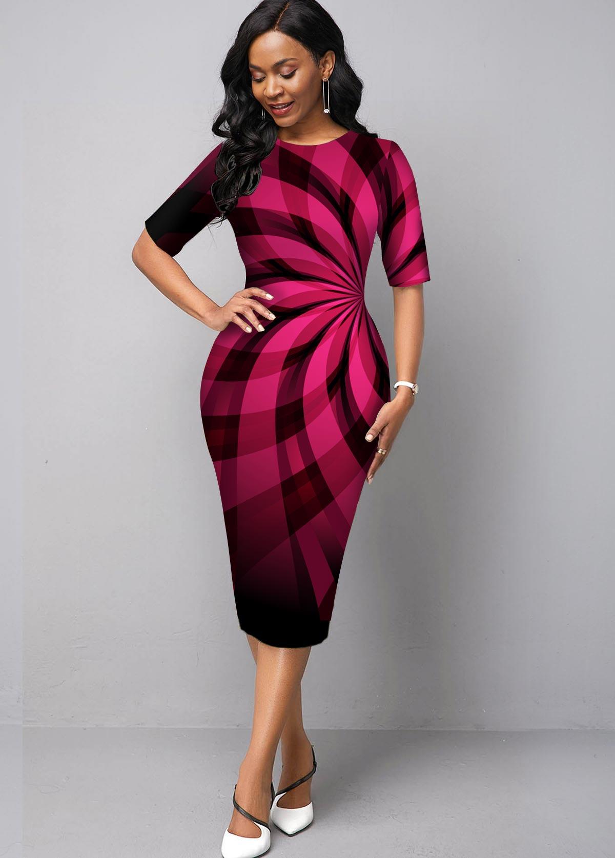 ROTITA Ombre Geometric Print Round Neck Dress