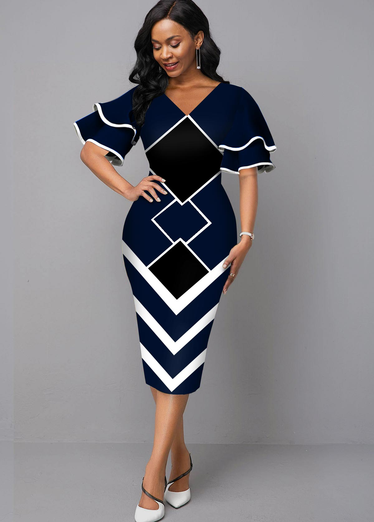 ROTITA Geometric Print V Neck Bodycon Dress