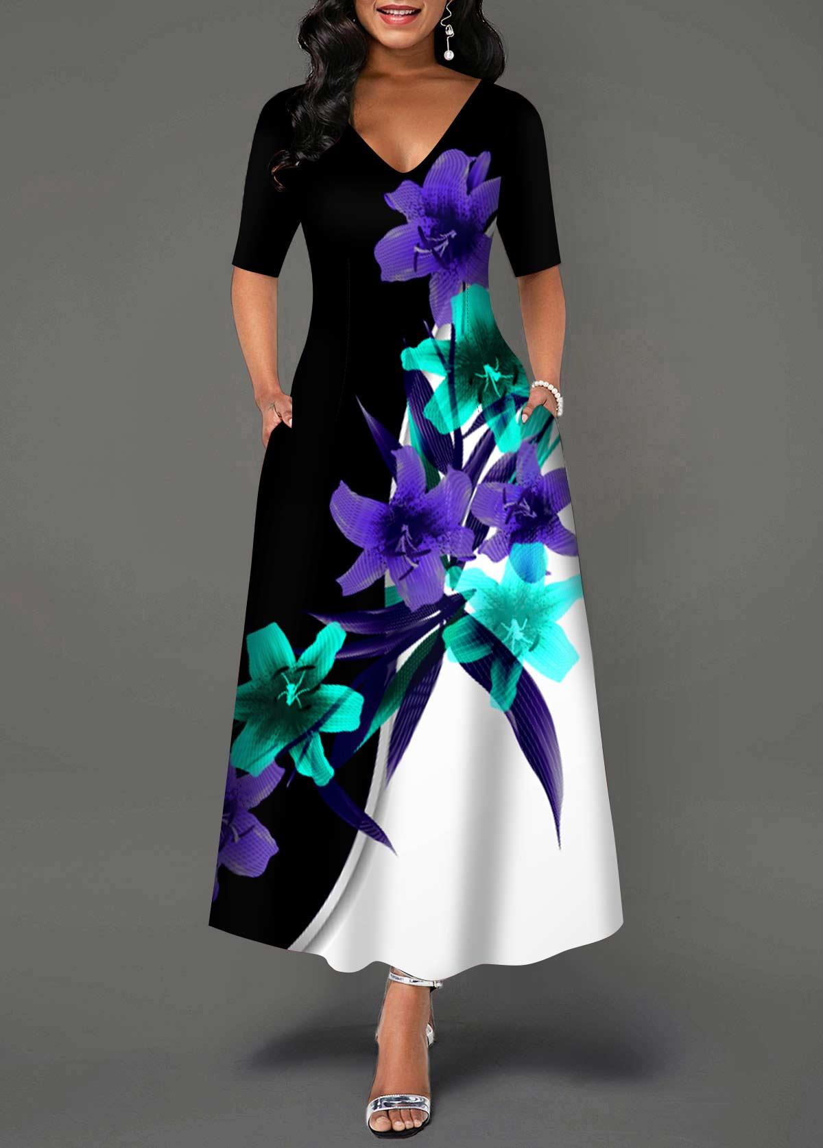 ROTITA Floral Print V Neck Double Pocket Dress