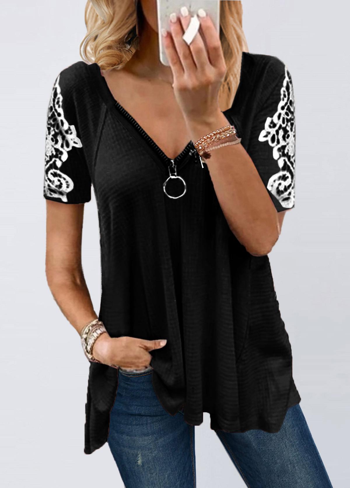 Lace Patchwork Short Sleeve Zipper T Shirt