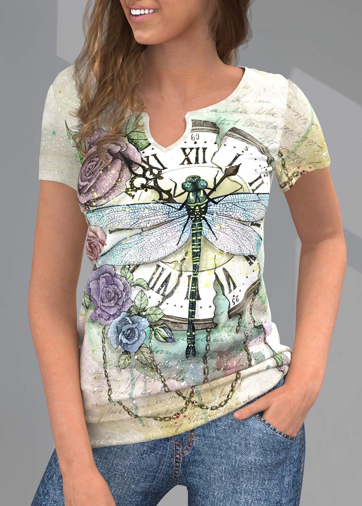 ROTITA Split Neck Printed Short Sleeve T Shirt