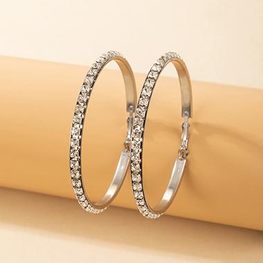 Silver Rhinestone Design Metal Detail Earring Set