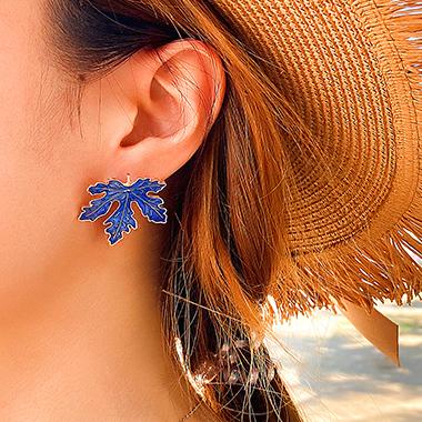 Blue Leaf Shape Metal Detail Earrings