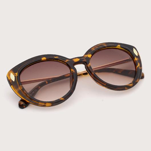 Metal Detail Brown TR Sunglasses